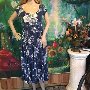 Chaps Blue floral 100% Cotton knit floral dress